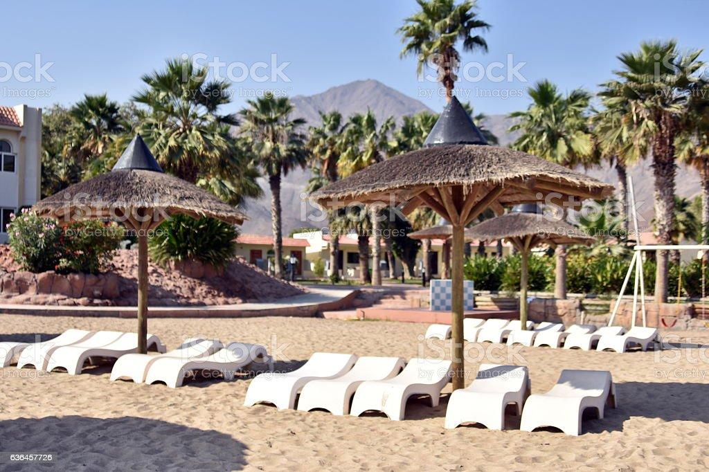 Sandy beach, Al Aqah beach, Fujairah, United Arab Emirates stock photo