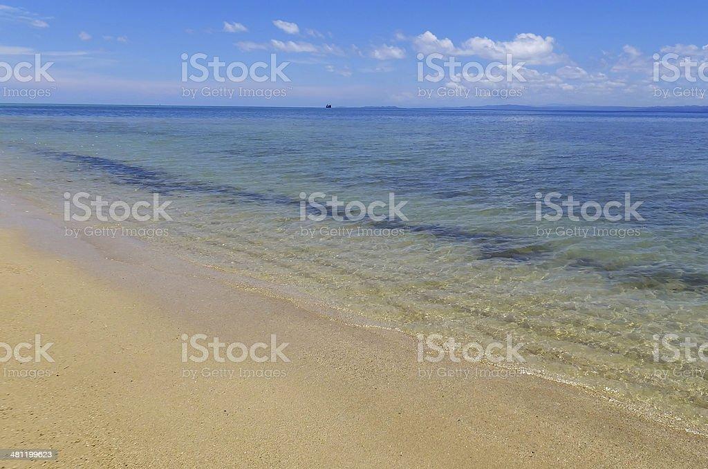 Sandy beach and clear water at Vanua Levu island, Fiji stock photo