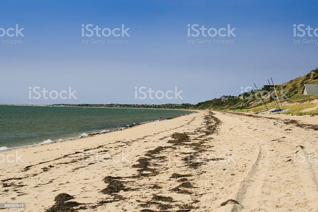 Sandy Beach and Dunes in Truro, Cape Cod, Massachusetts, USA. stock photo