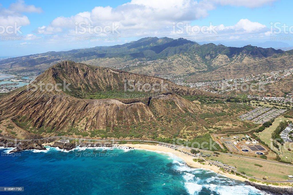 Sandy Beach and Koko Crater stock photo