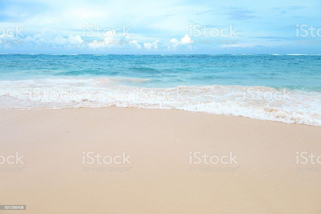 sandy beach and the sea stock photo