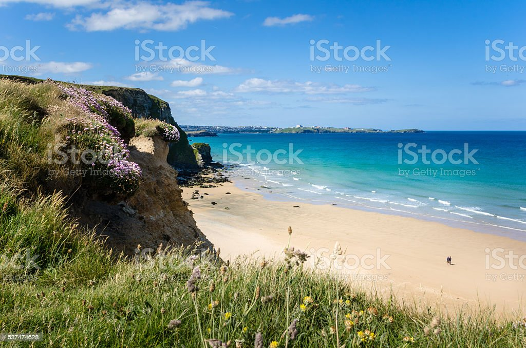 Sandy Beach and Turquoise Sea in Cornwall stock photo