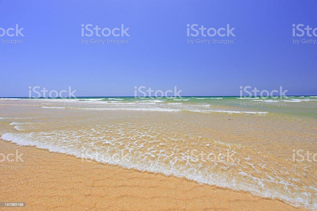 Sandy beach at Faro stock photo