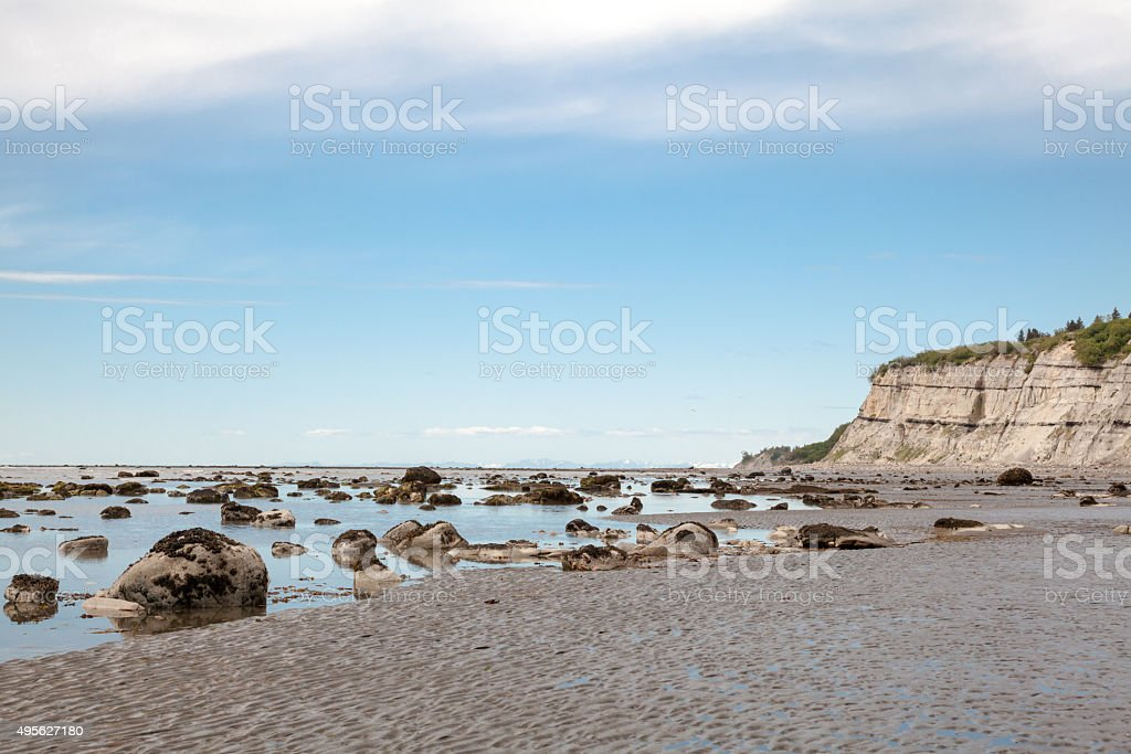 Sandy Beach at Low Tide stock photo