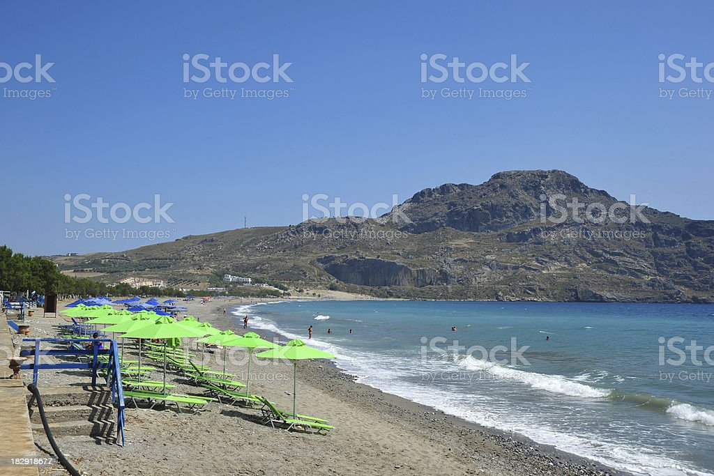 Sandy beach at Plakias, Crete, Greece stock photo
