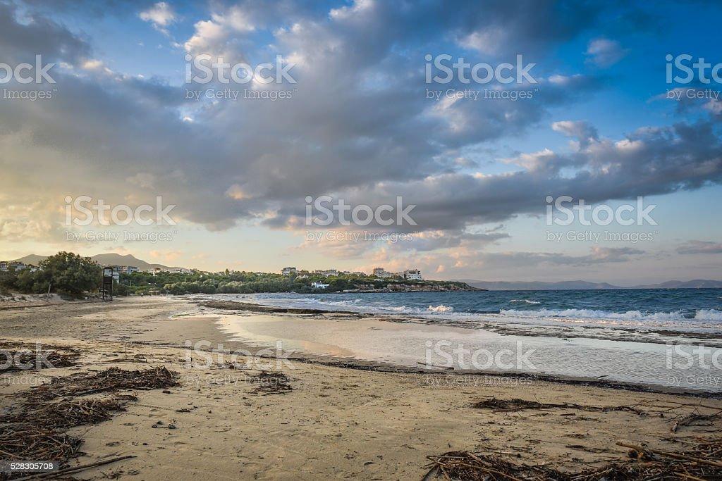 Sandy Beach at Sunset stock photo