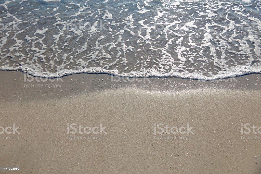 Sandy beach, copy space stock photo