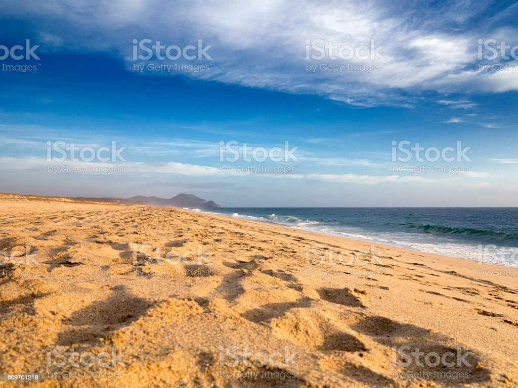 Sandy beach in Baja California Sur Mexico stock photo