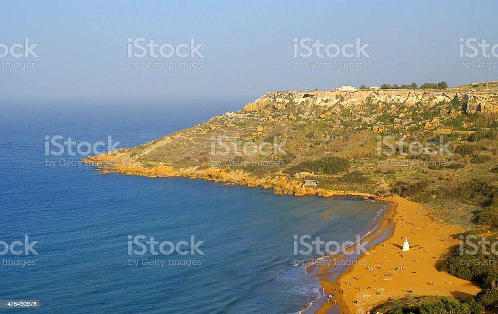 Sandy beach in Gozo Island. View from Calypso's Cave. stock photo