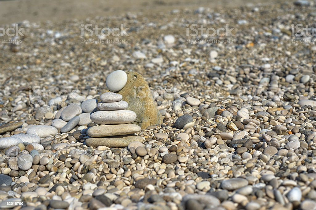 Sandy beach in Greece stock photo