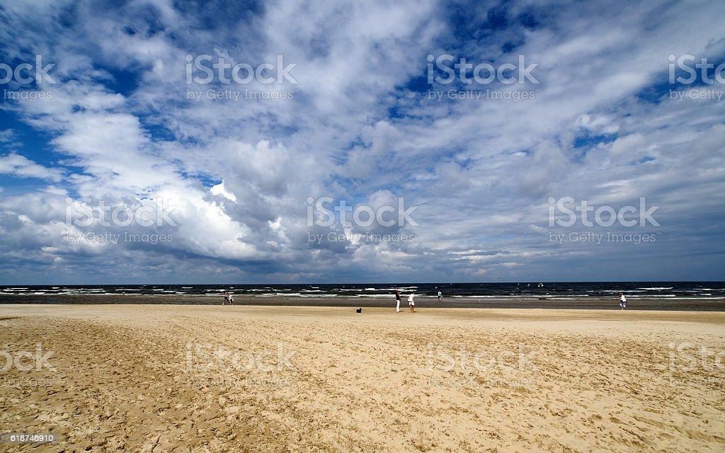 Sandy beach in Jurmala stock photo
