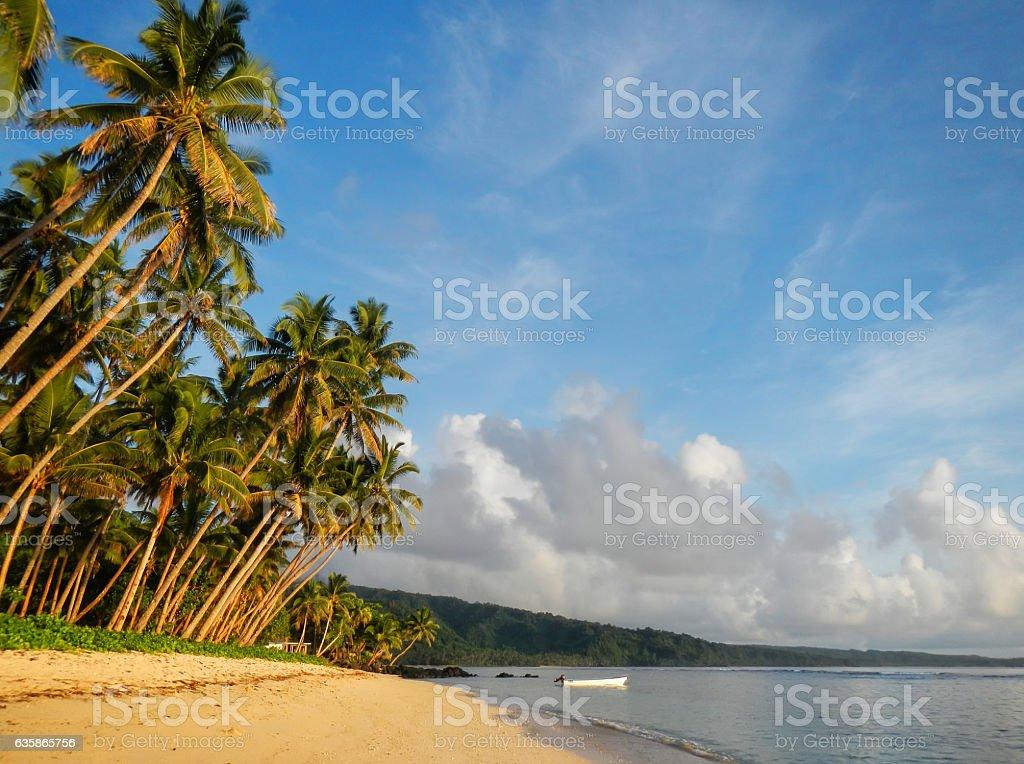 Sandy beach in Lavena village on Taveuni Island, Fiji stock photo