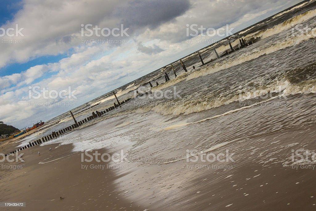 Sandy beach in Rewal - Poland. stock photo