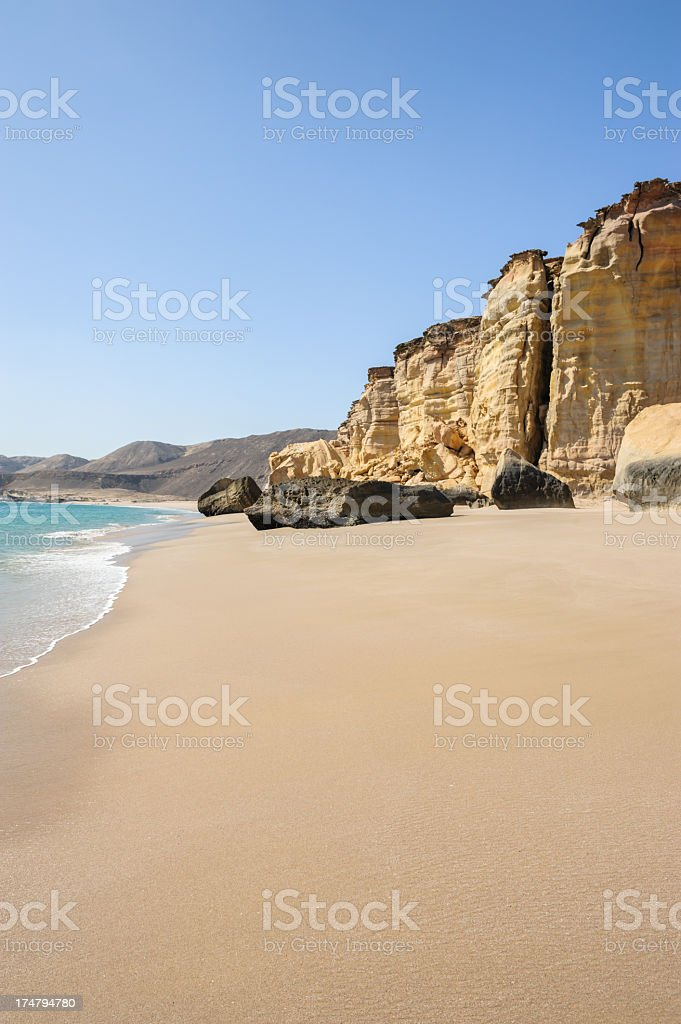Sandy beach of Oman stock photo