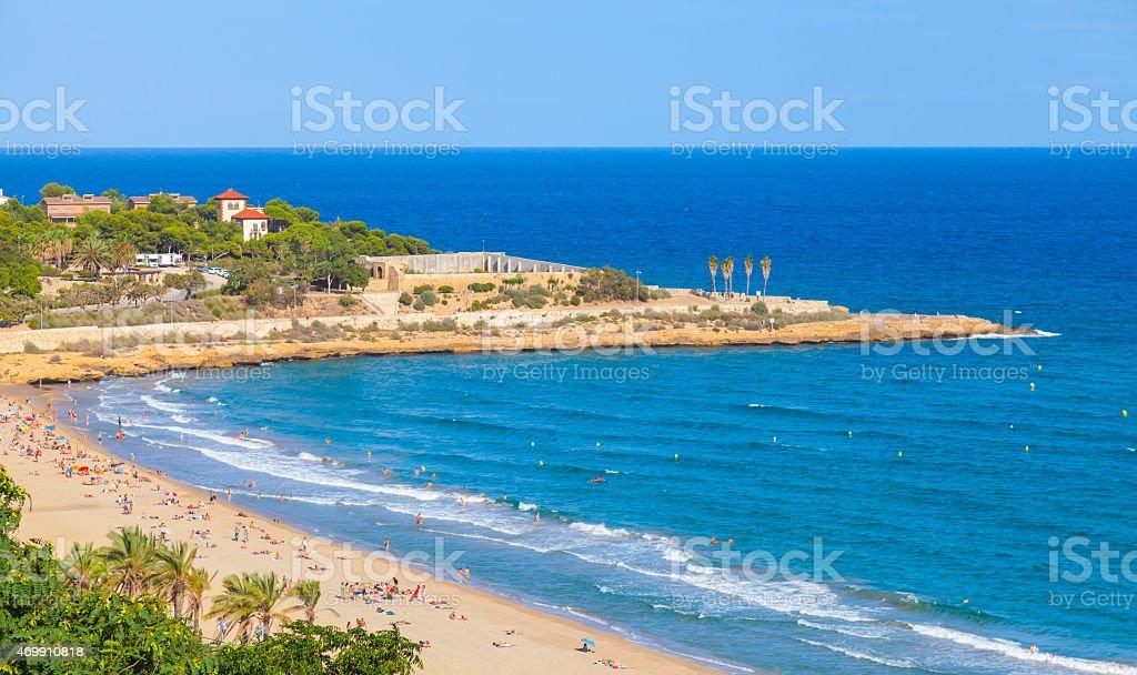 Sandy beach of Tarragona in warm summer day stock photo