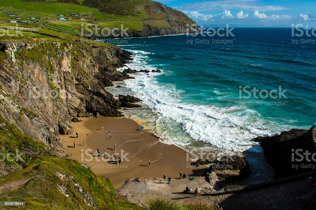 Sandy Beach on Slea Head in Ireland stock photo