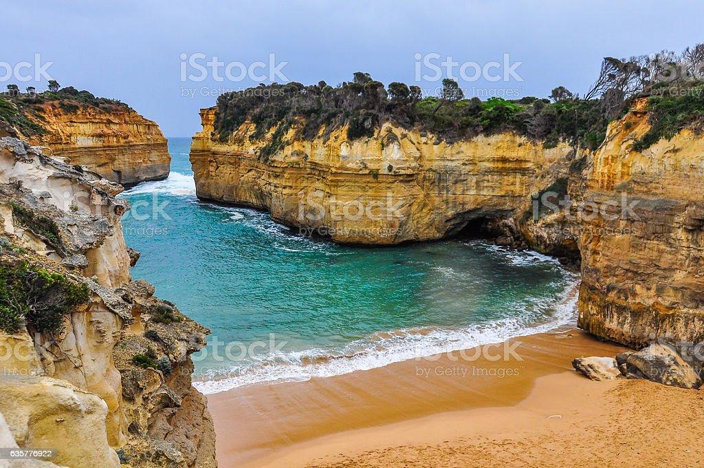 Sandy beach on the Great Ocean Road, Australia stock photo