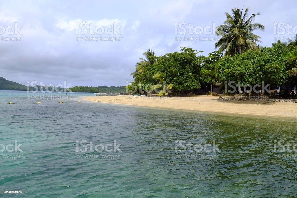 Sandy beach on Vavau island, Tonga stock photo