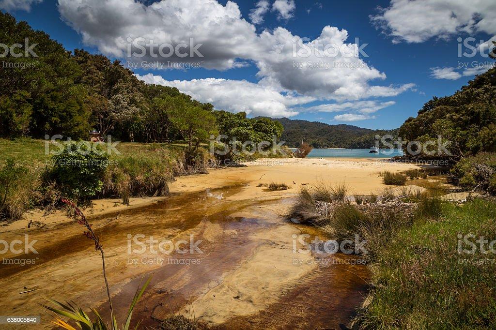 Sandy beach under a blue sky, New Zealand stock photo