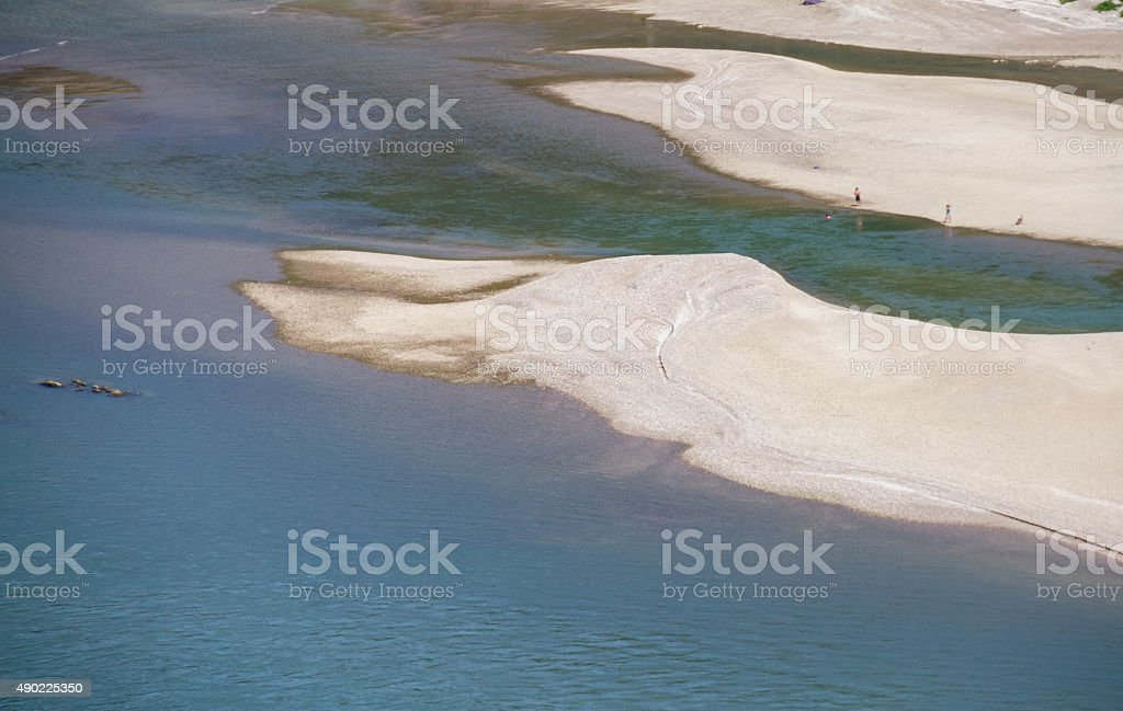 Sandy beaches on slow section of river Rhine- Oberwesel, Germany stock photo