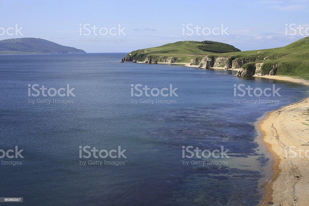 Sandy coast of island in the Japanese sea stock photo