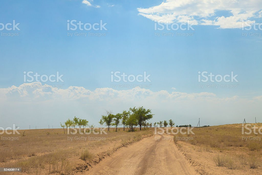Sandy country road in the salt desert landscape stock photo