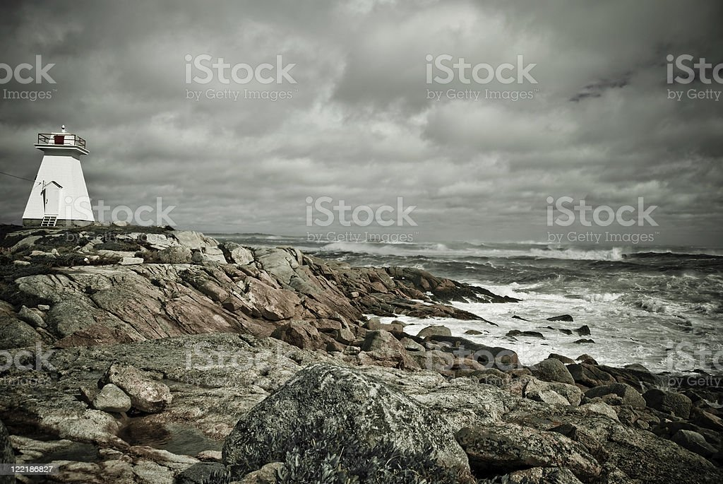 Sandy Cove Lighthouse Durng Hurricane Bill stock photo