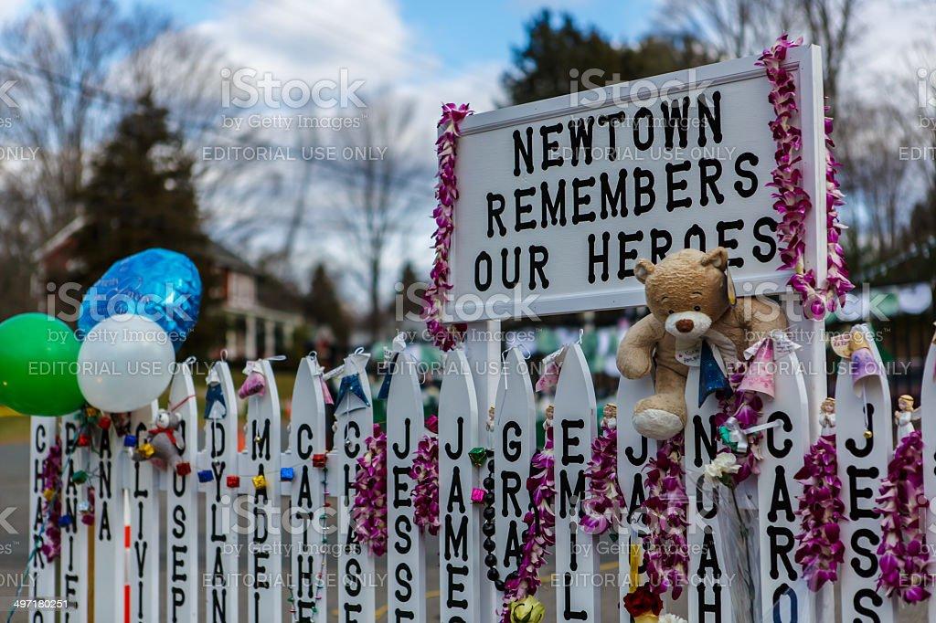 Sandy Hook Elementary School shooting memorial in Newtown, Connecticut stock photo