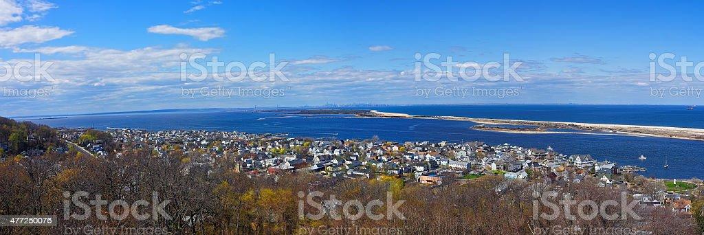 Sandy Hook, ocean and NYC panorama stock photo