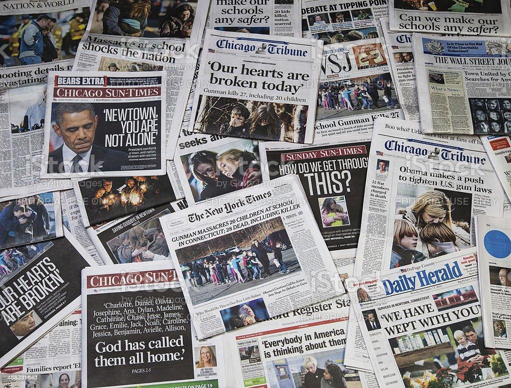 Sandy Hook school shooting newspaper collage horz royalty-free stock photo