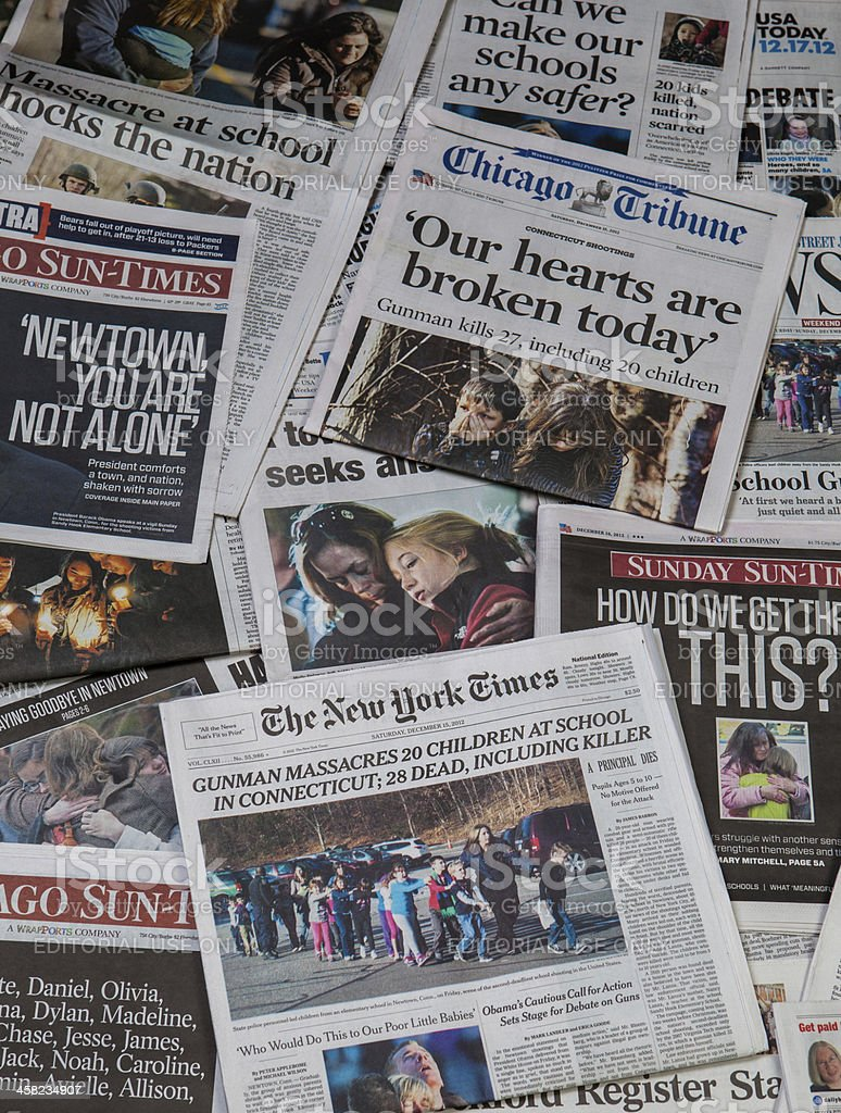 Sandy Hook school shooting newspaper collage royalty-free stock photo