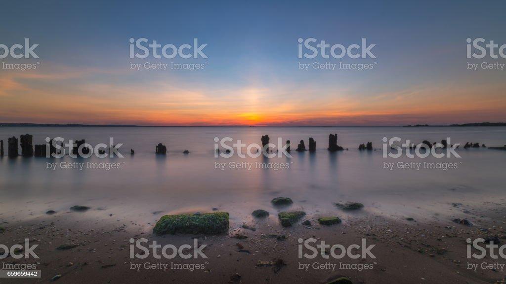 Sandy Hook Seascape sunset stock photo