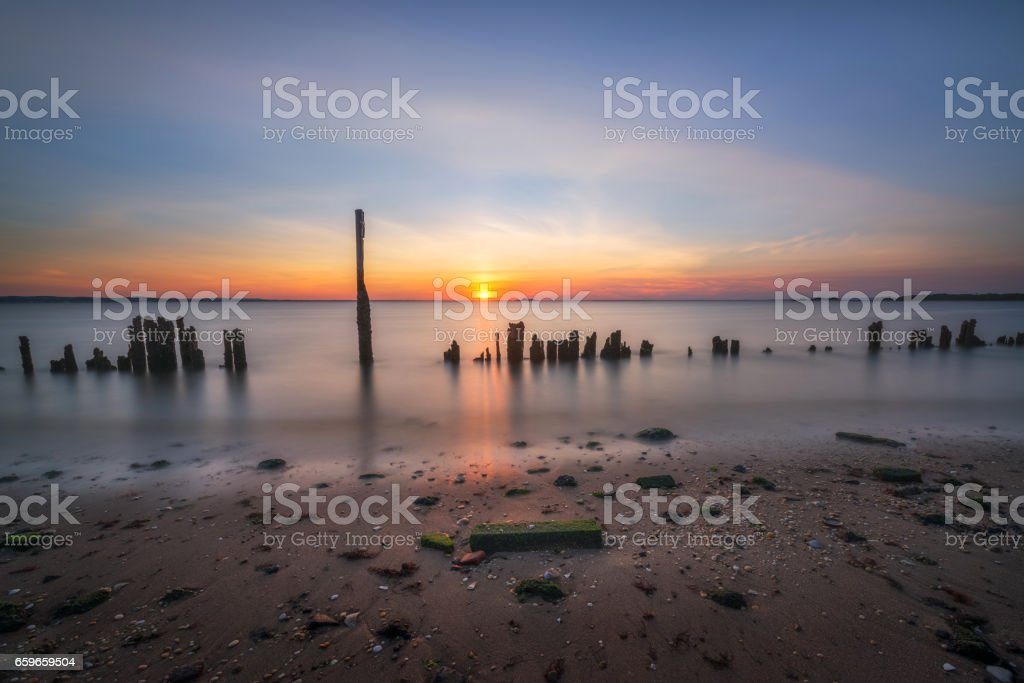 Sandy Hook sunset in New Jersey stock photo