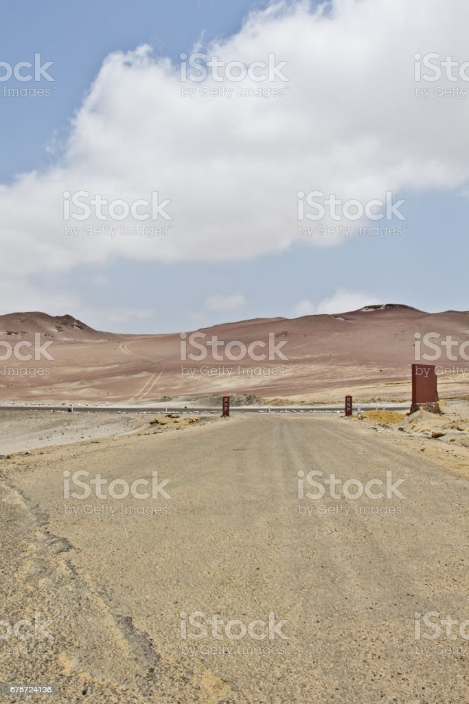Sandy landscape with mountains. Perfect place to see tropical desert, wide cliffs and coloful beaches on the rocky islands and national reserve. Small islands near the town of Paracas. stock photo