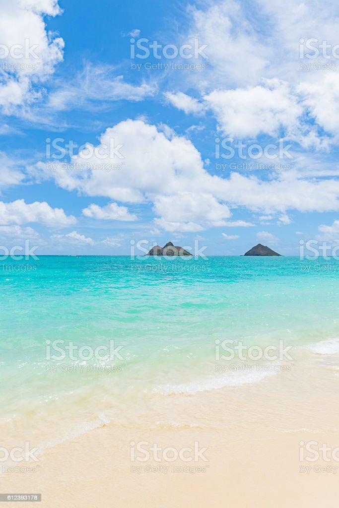 sandy Lanikai Beach and Mokulua Islands, Kailua, O'ahu, Hawai'i stock photo