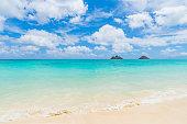 sandy Lanikai Beach and Mokulua Islands, Kailua, O'ahu, Hawai'i