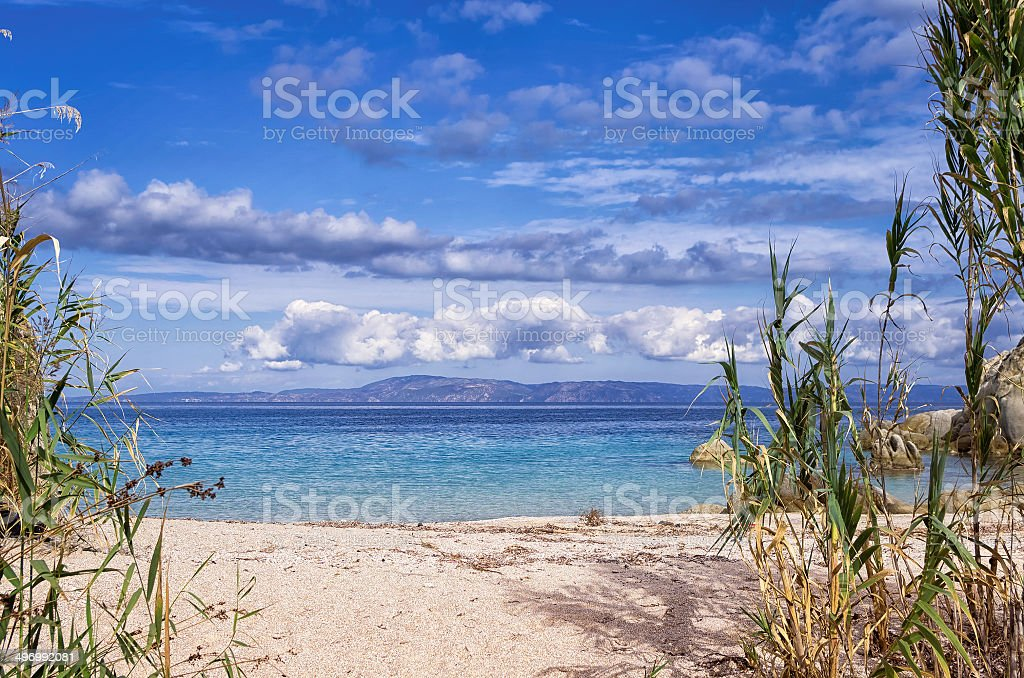 Sandy little beach in Sithonia, Chalkidiki, Greece, like a paradise royalty-free stock photo