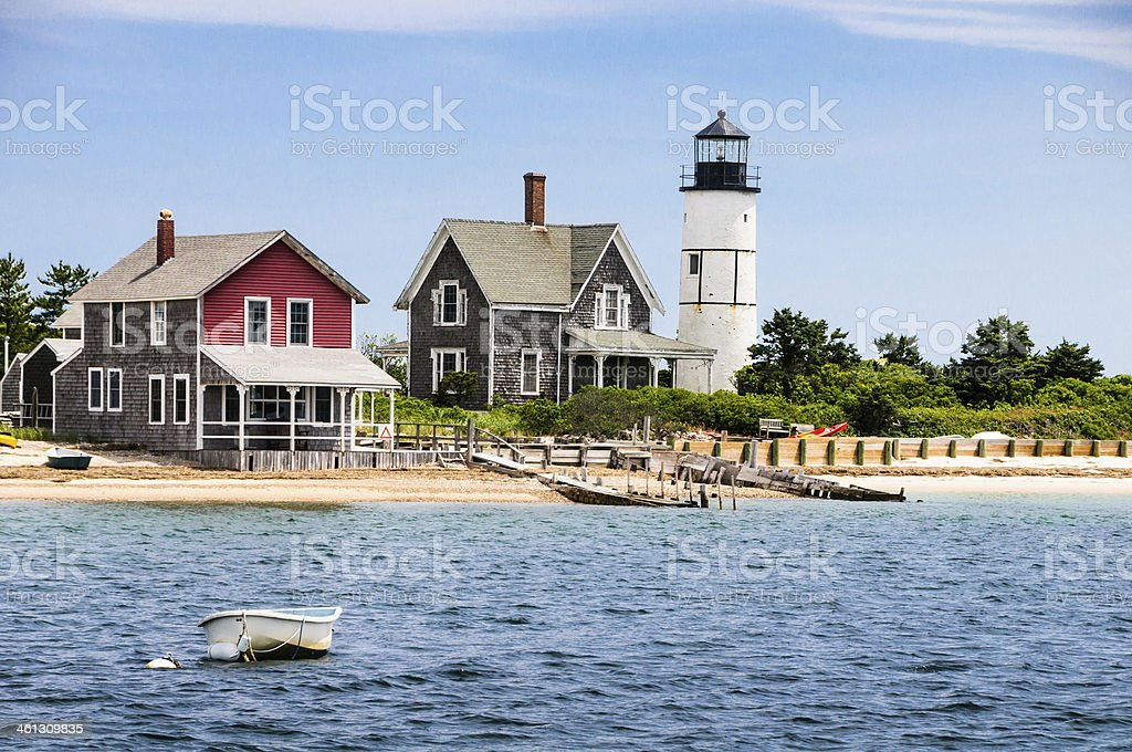 Sandy neck lighthouse on a clear day stock photo