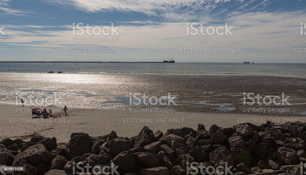 sandy normandy coast at tide near calais france stock photo