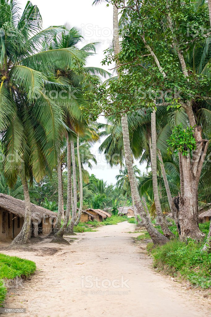 Sandy path in a remote jungle village, Congo stock photo