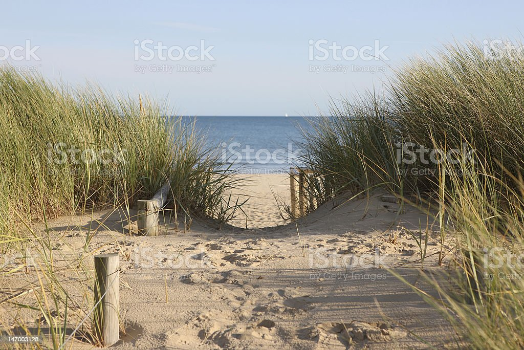 Sandy pathway accessing a beach stock photo