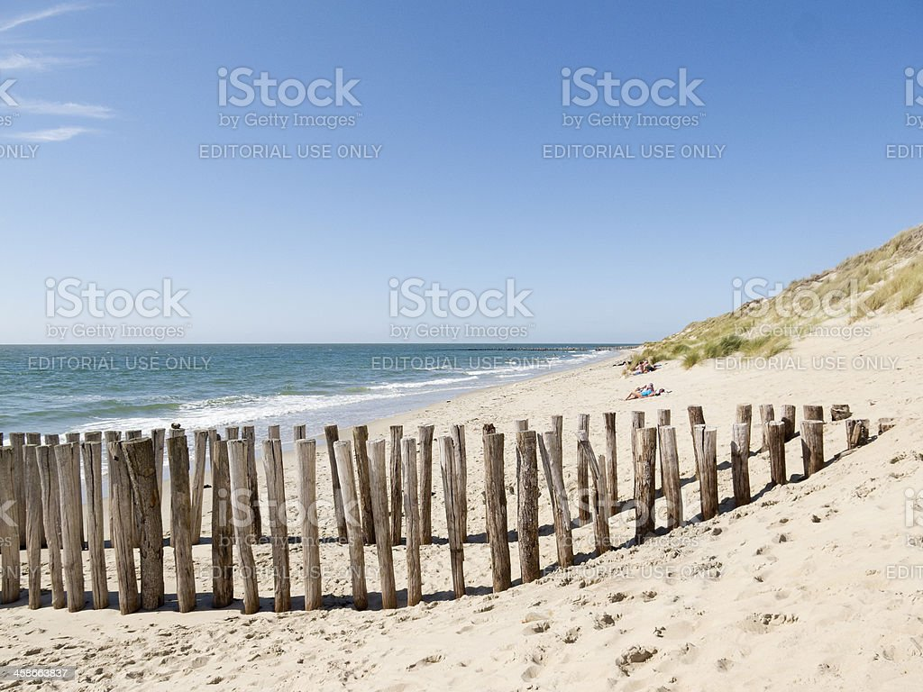 Sandy peaceful beach in The Netherlands stock photo