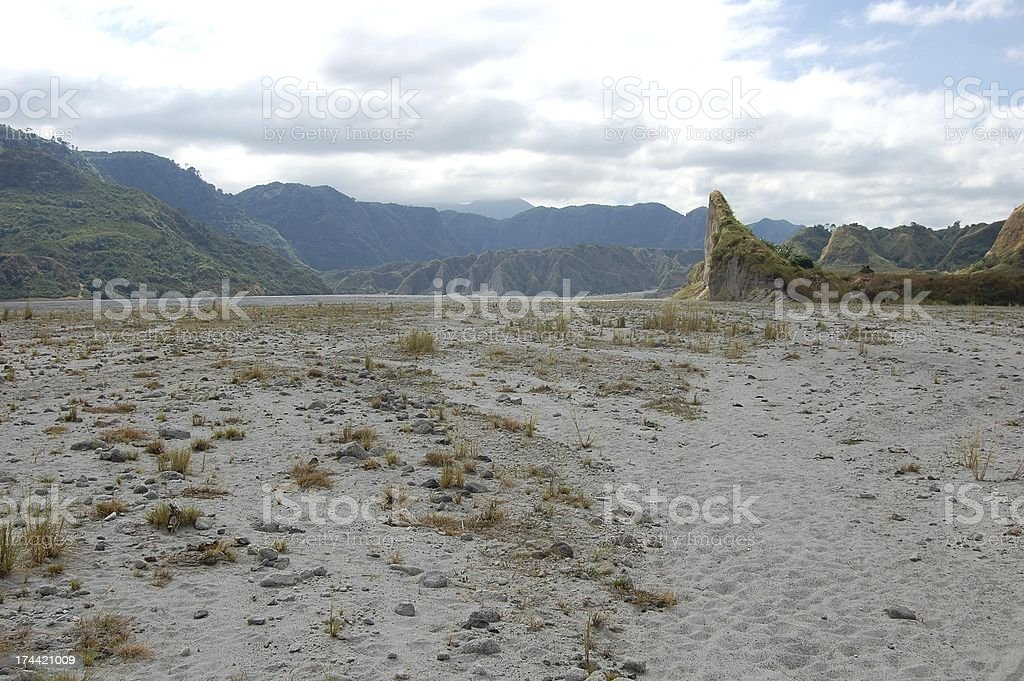 Sandy road towards Mt. Pinatubo, Philippines royalty-free stock photo