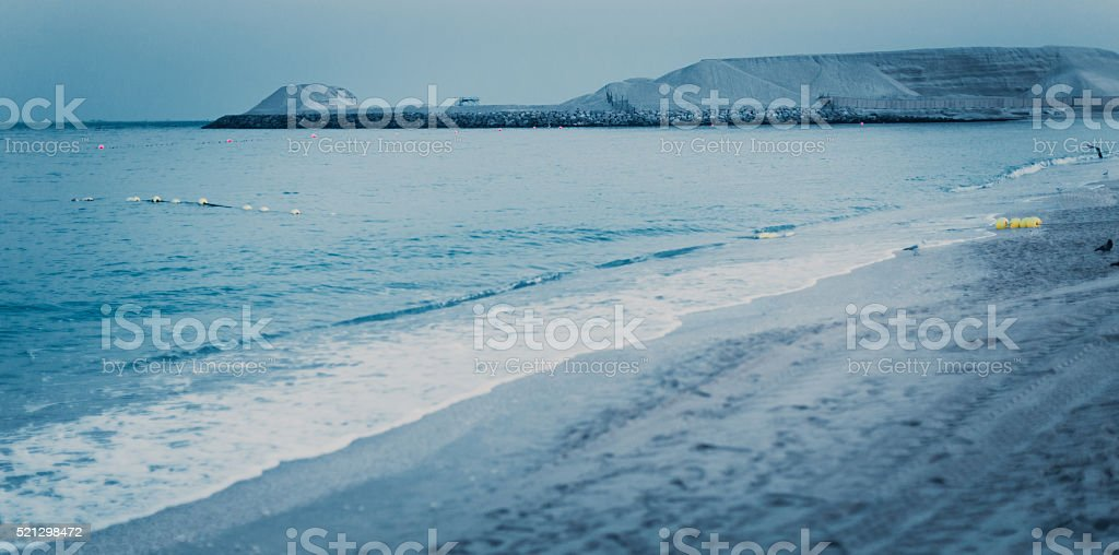 Sandy Sea Beach in the morning stock photo