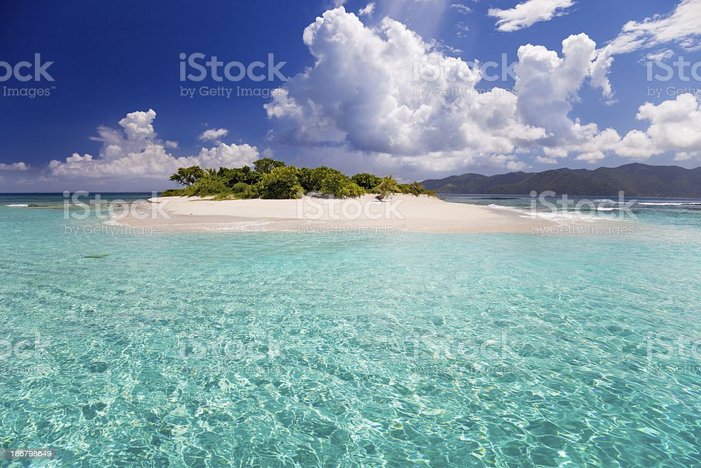 Sandy Spit, BVI - tiny island in the Caribbean stock photo