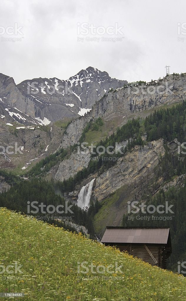 Sanetschpass and waterfall royalty-free stock photo