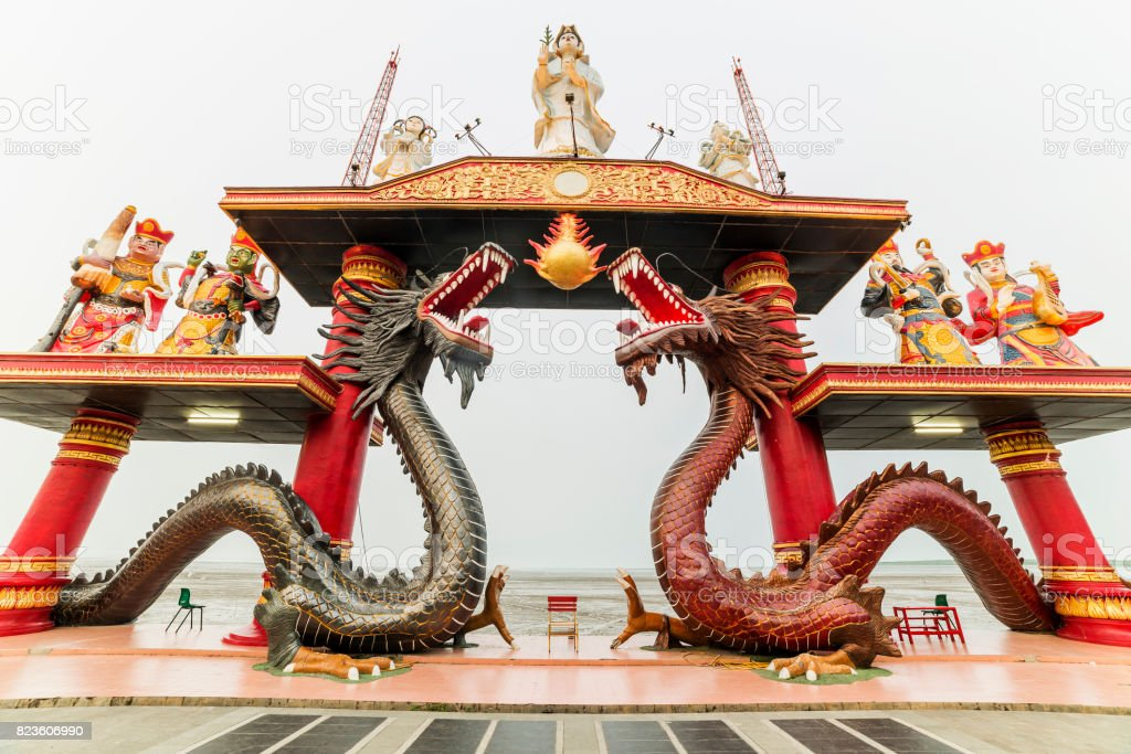 Sanggar Agung Temple or Hong San Tang is a Chinese temple in Surabaya dedicated to Chinese deities and other Asian religious icons. It is located within the Pantai Ria amusement park Temple, Surabaya stock photo