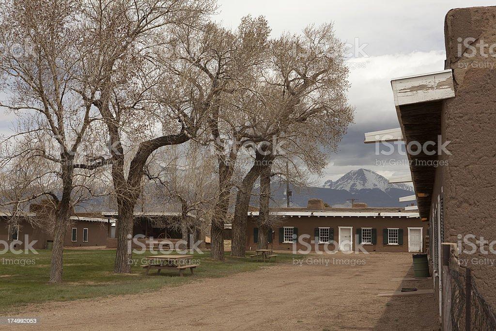Sangre de Cristo Mountains and historic Fort Garland Colorado stock photo