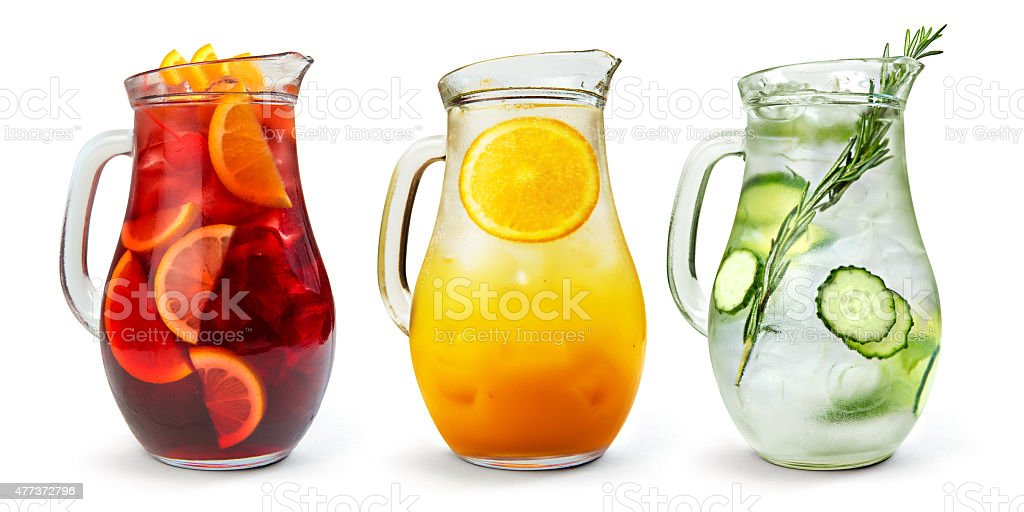 Sangria,Lemonade and Orange juice stock photo