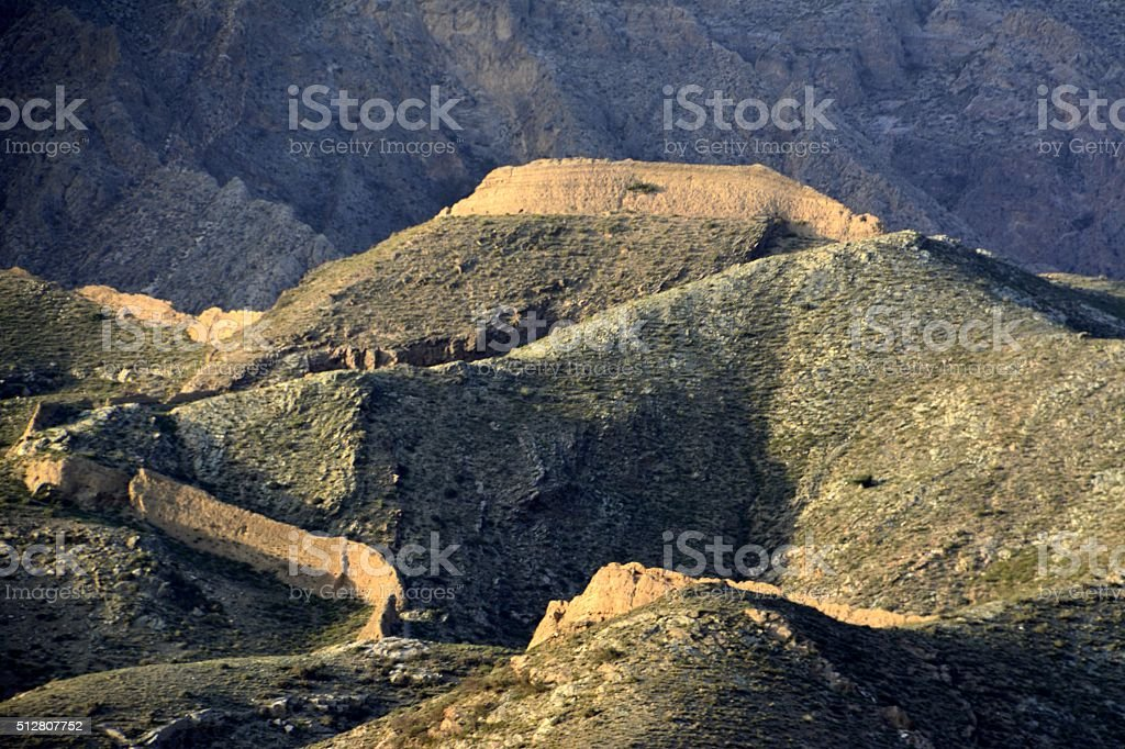 Sanguankou Great Wall, Ningxia/Inner Mongolia border stock photo
